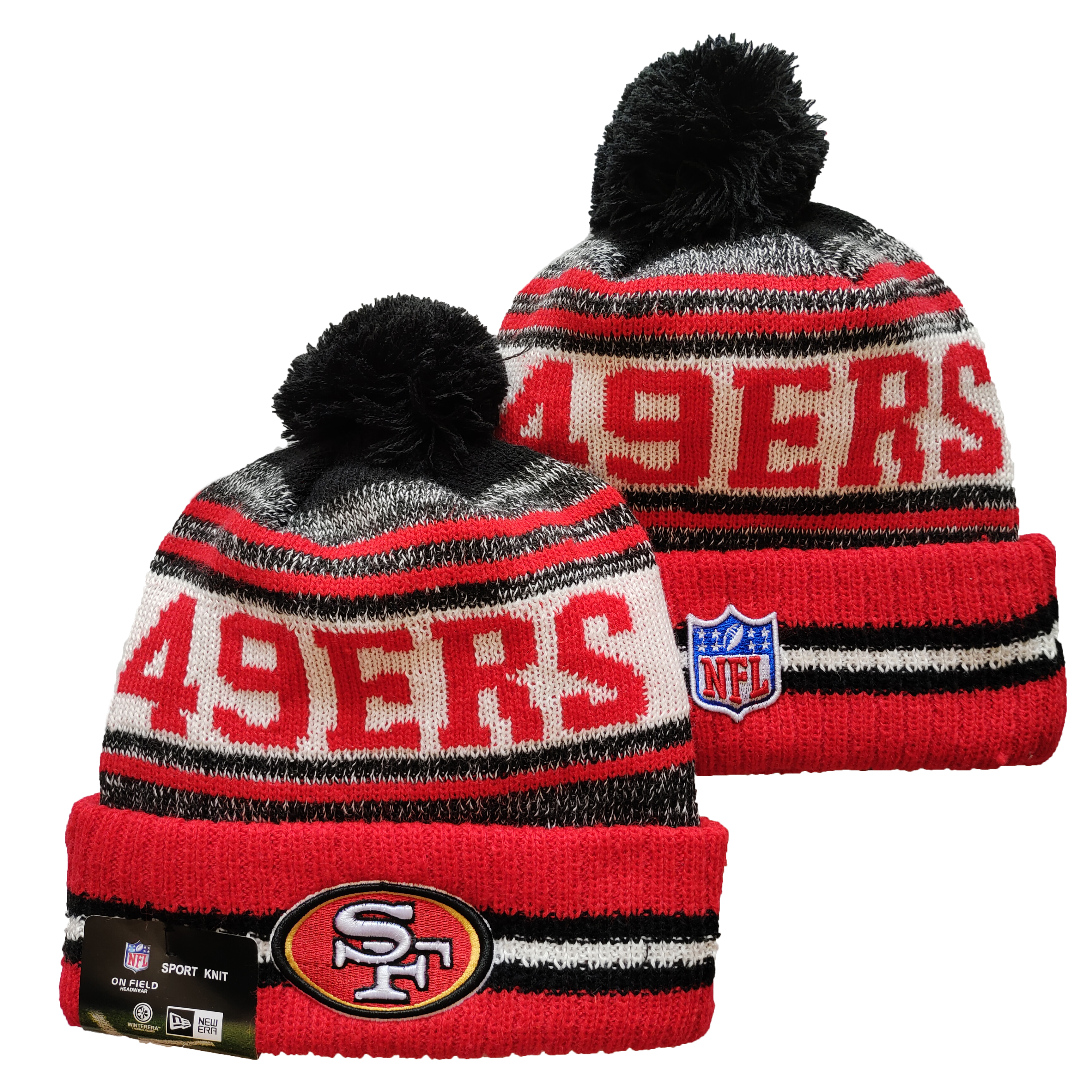 49ers Team Logo Red and Gray Pom Cuffed Knit Hat YD