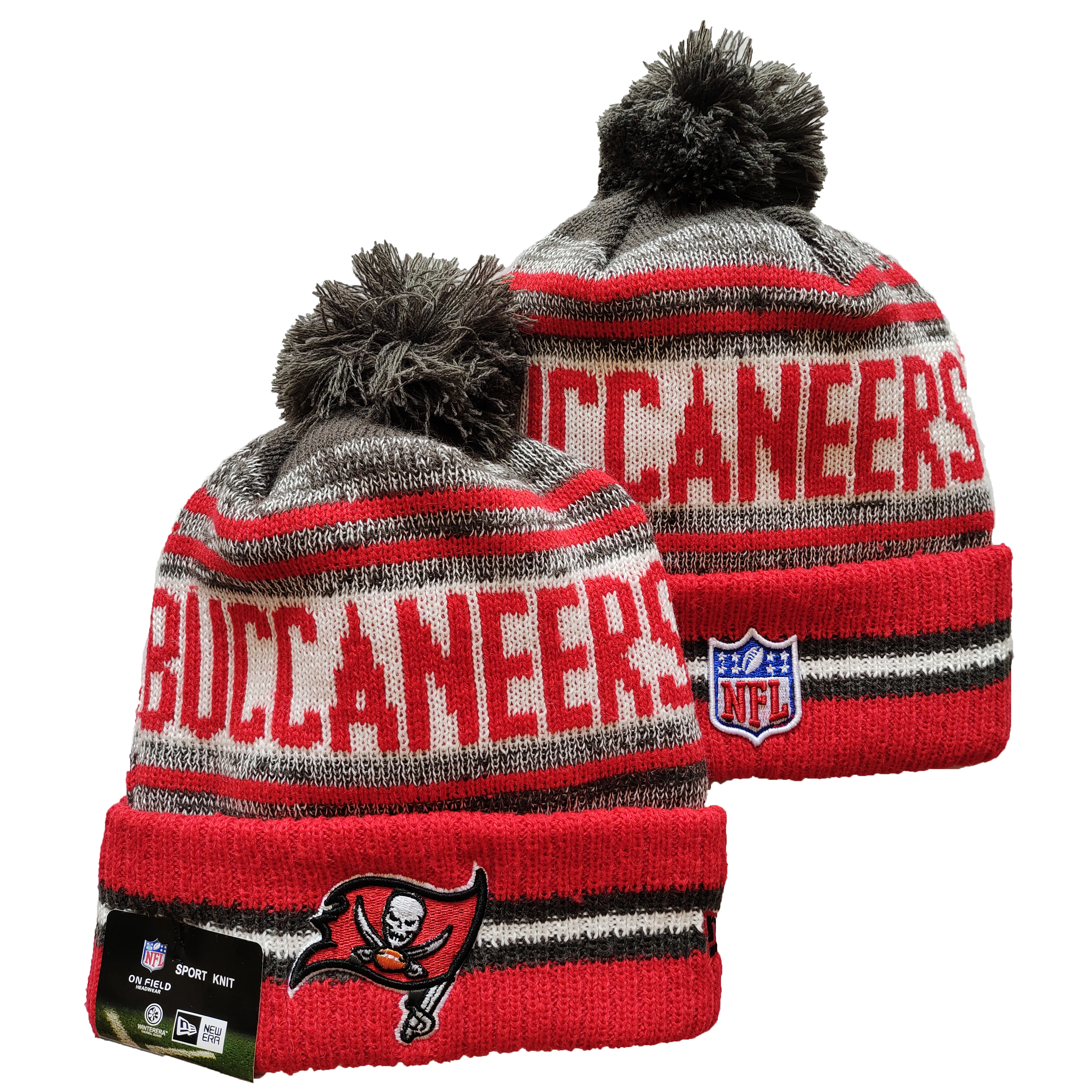 Buccaneers Team Logo Red and Gray Pom Cuffed Knit Hat YD