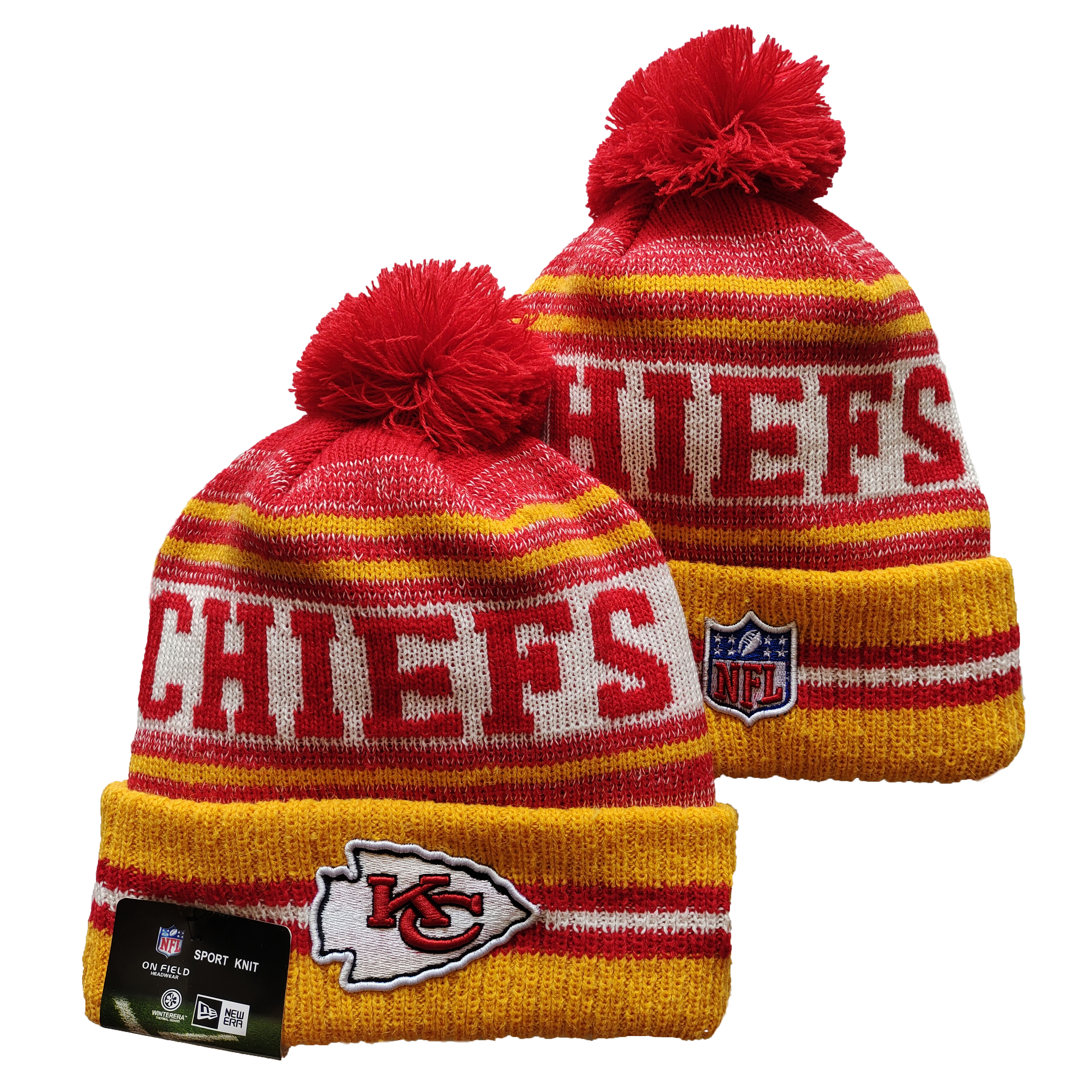 Chiefs Team Logo Red and Yellow Pom Cuffed Knit Hat YD
