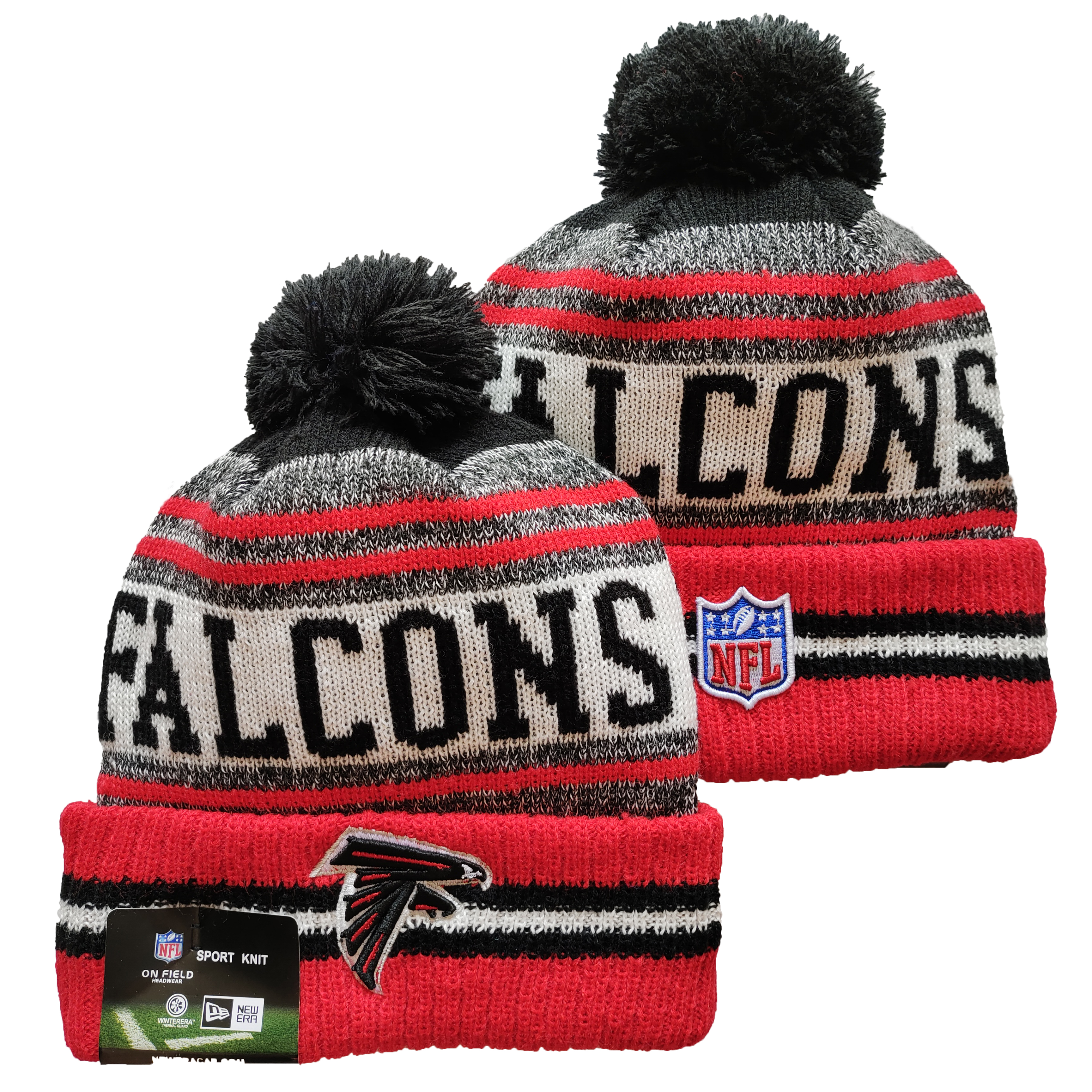 Falcons Team Logo Red and Gray Pom Cuffed Knit Hat YD