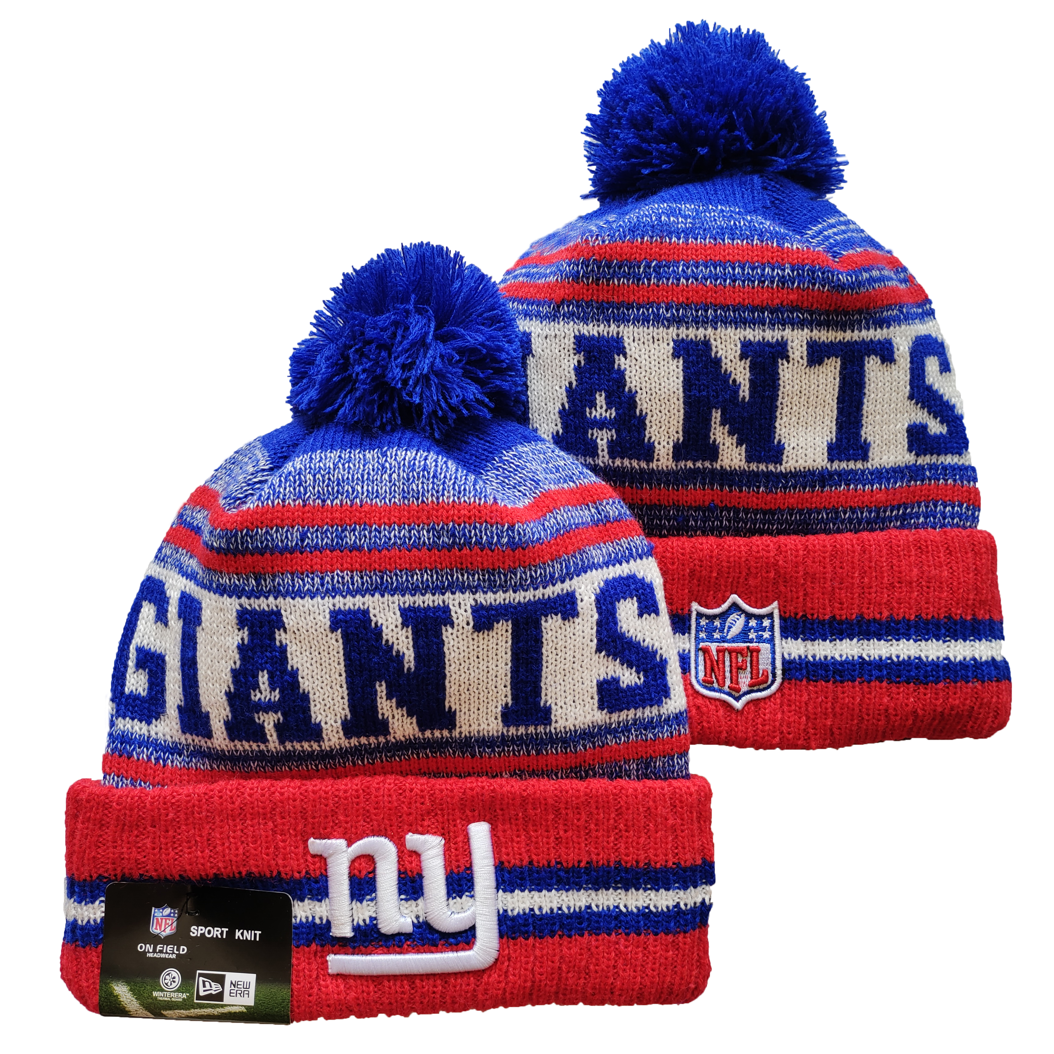 New York Giants Team Logo Red and Royal Pom Cuffed Knit Hat YD