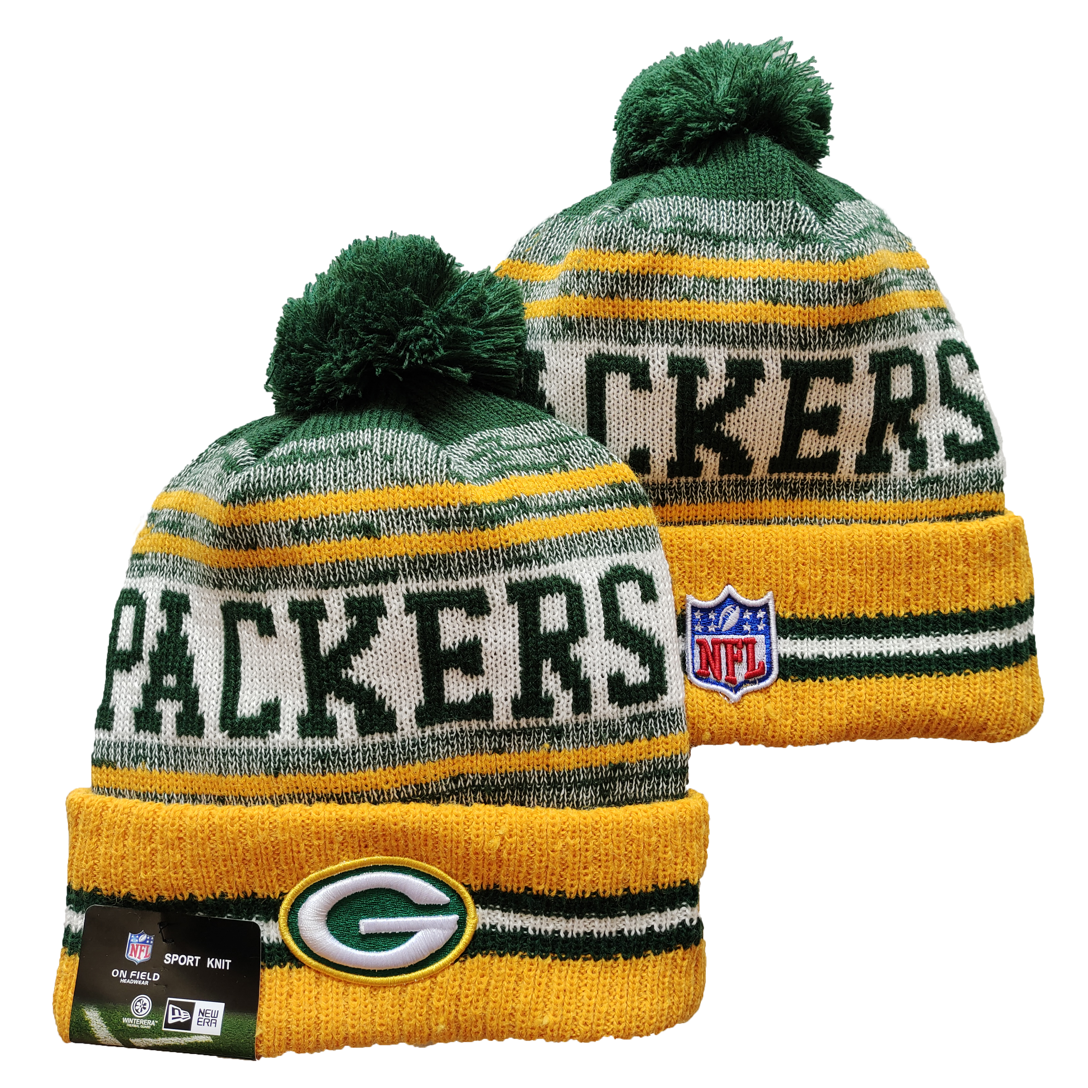 Packers Team Logo Yellow and Green Pom Cuffed Knit Hat YD