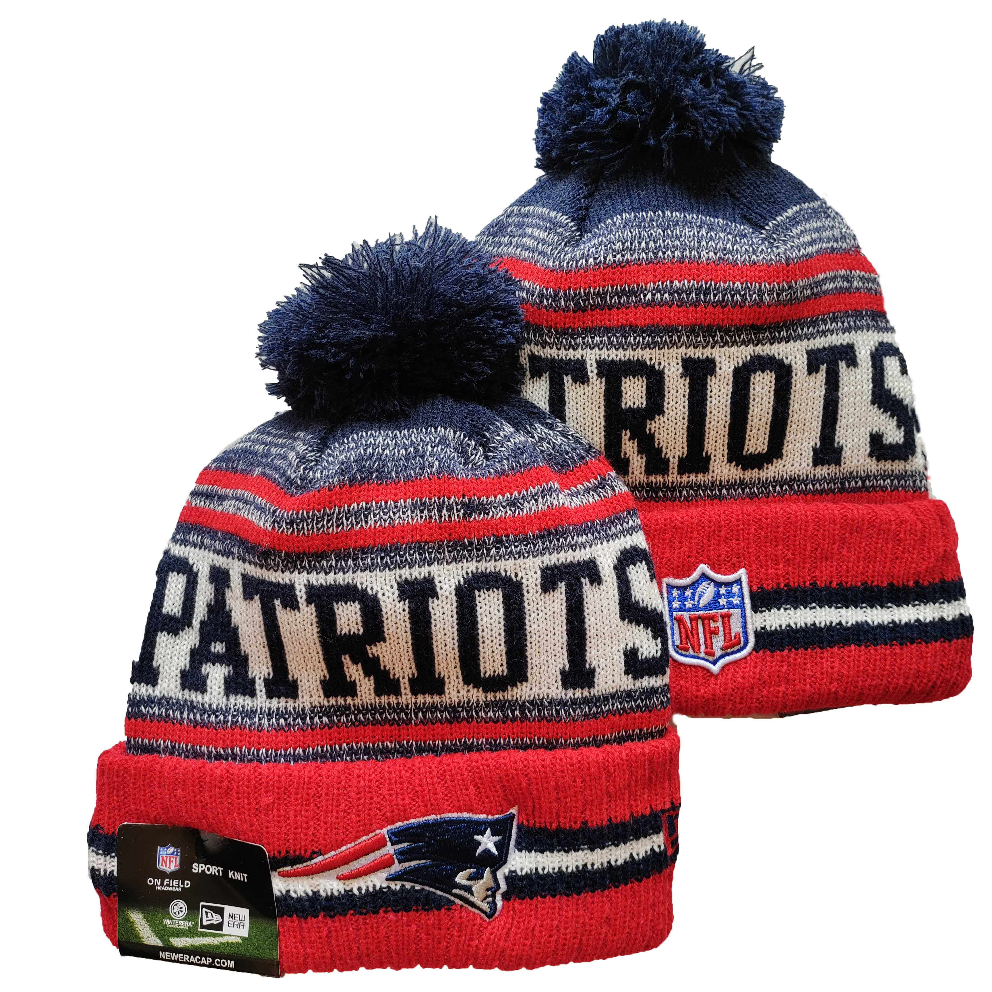 Patriots Team Logo Red and Navy Pom Cuffed Knit Hat YD