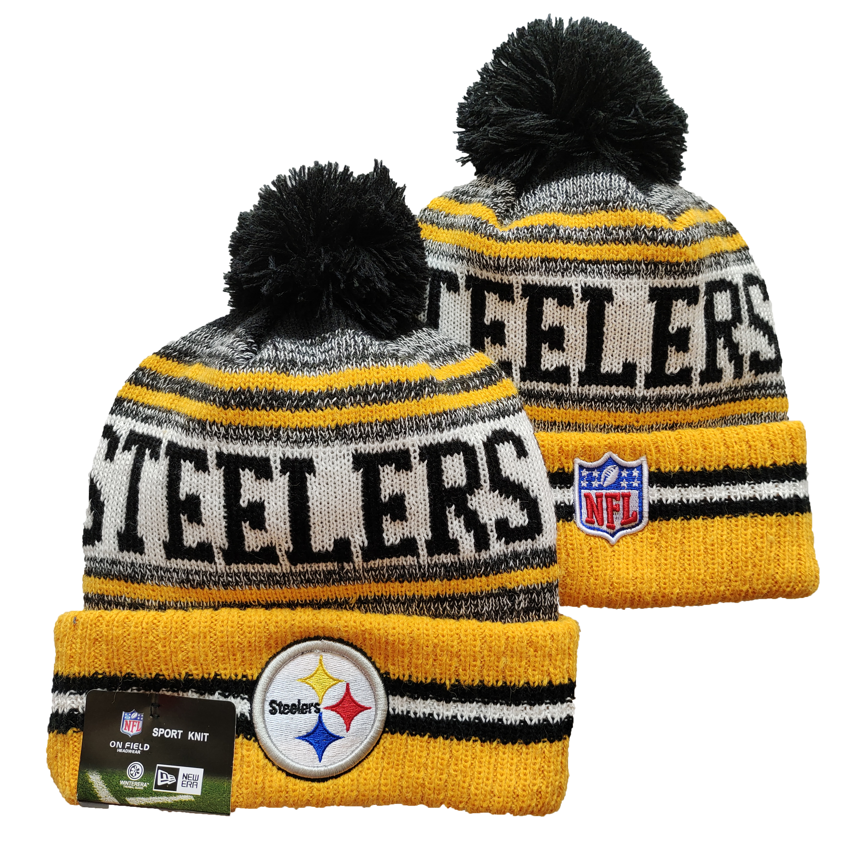 Steelers Team Logo Yellow and Gray Pom Cuffed Knit Hat YD