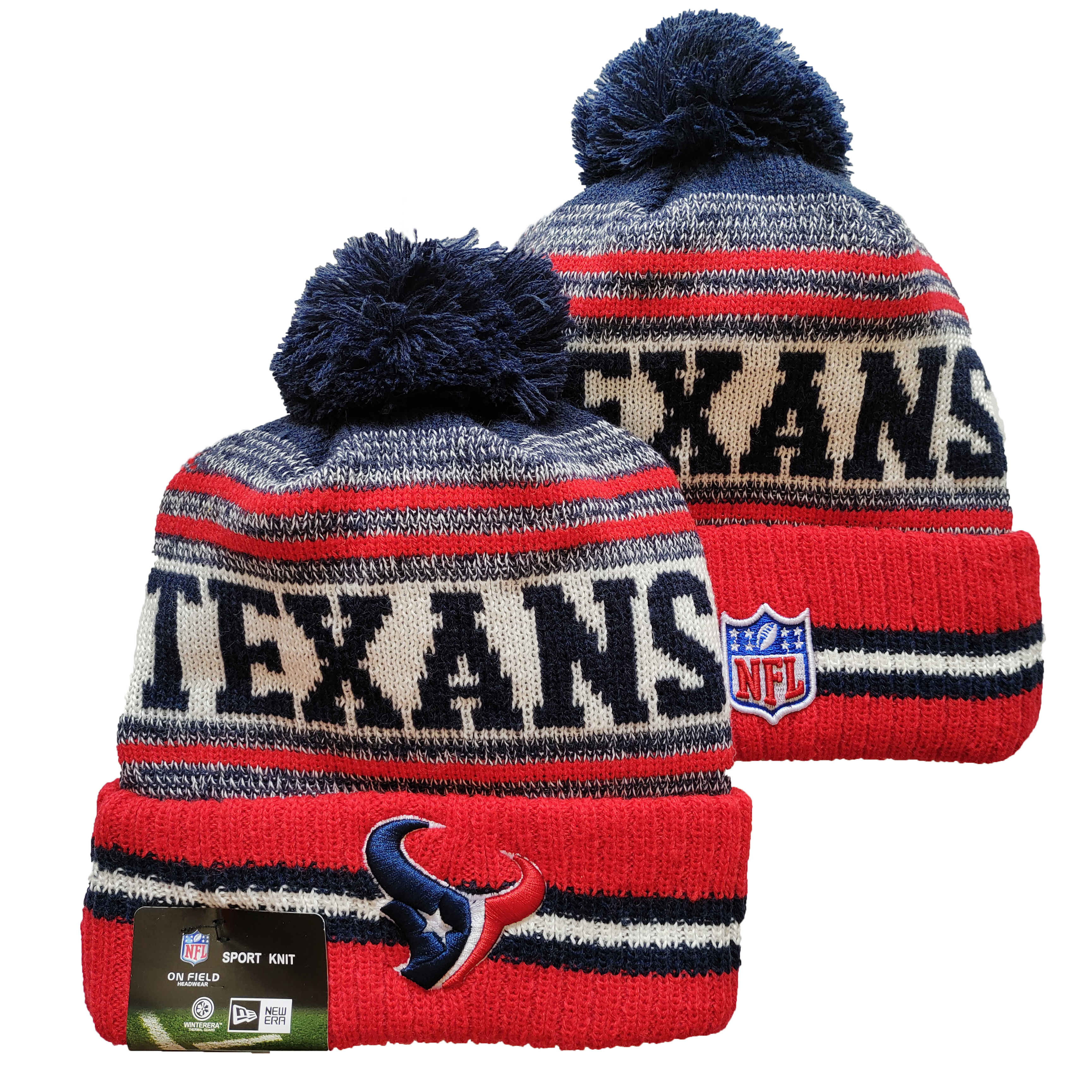 Texans Team Logo Red and Gray Pom Cuffed Knit Hat YD