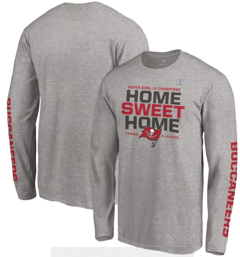 Men's Tampa Bay Buccaneers Fanatics Branded Heathered Gray Super Bowl LV Champions Hometown Home Sweet Home Long Sleeve T-Shirt