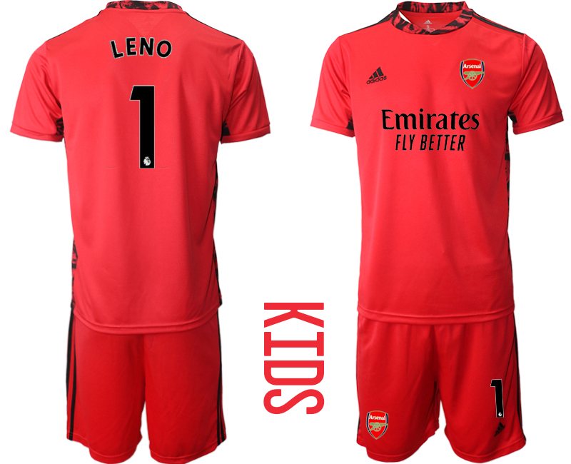 2020-21 Arsenal 1 LENO Red Youth Goalkeeper Soccer Jersey