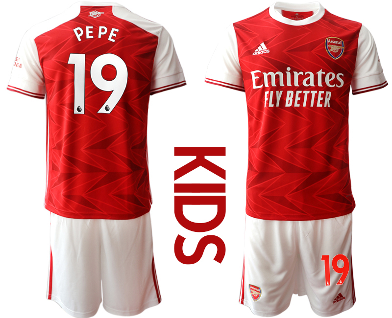2020-21 Arsenal 19 PEPE Youth Home Soccer Jersey
