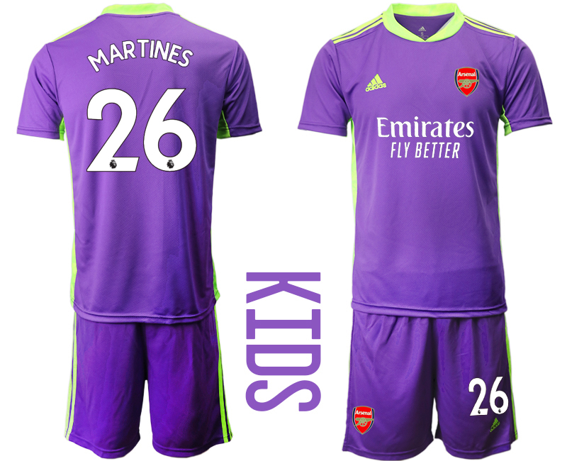 2020-21 Arsenal 26 MARTINES Purple Youth Goalkeeper Soccer Jersey