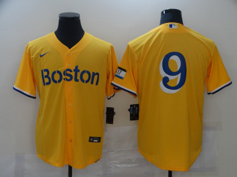 Red Sox 9 Gold Nike 2021 City Connect Replica Player Cool Base Jersey