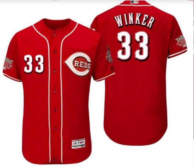 Reds 33 Jesse Winker Red 150th Anniversary Cool Base Jersey