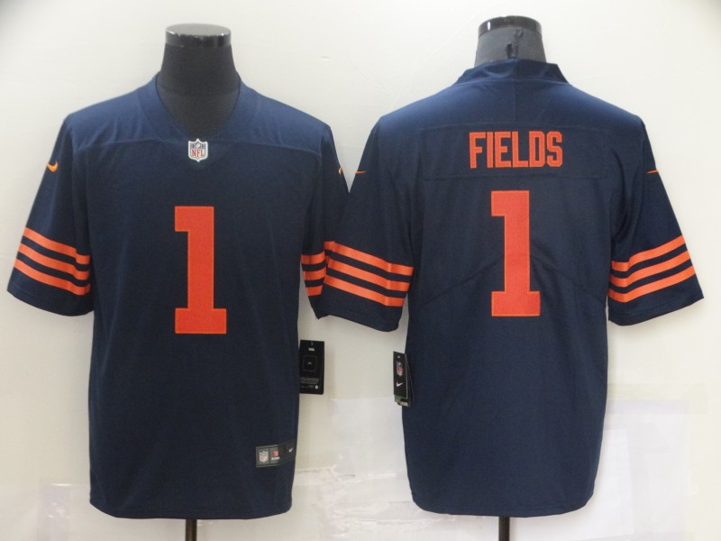 Nike Bears 1 Justin Fields Navy Throwback 2021 NFL Draft Vapor Untouchable Limited Jersey