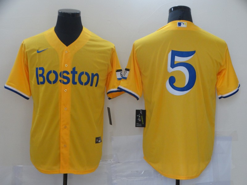 Red Sox 5 Gold Nike 2021 City Connect Replica Player Cool Base Jersey