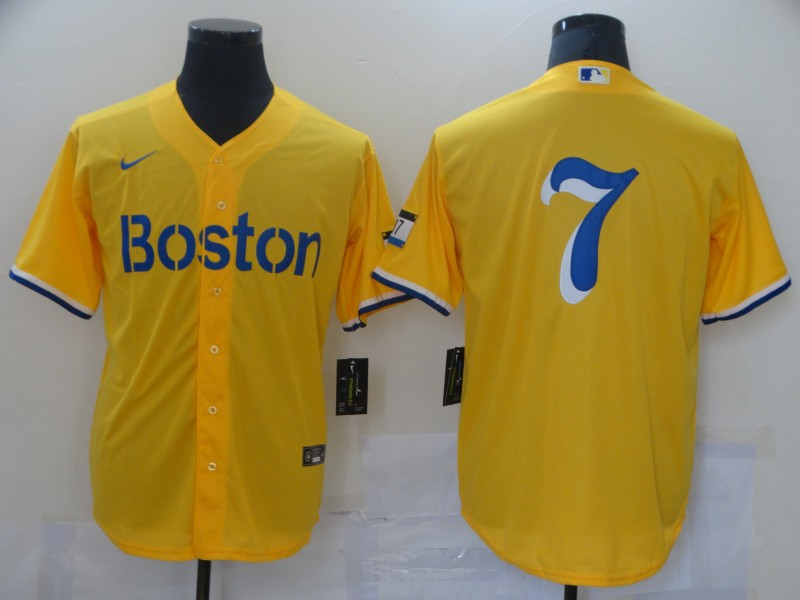 Red Sox 7 Gold Nike 2021 City Connect Replica Player Cool Base Jersey