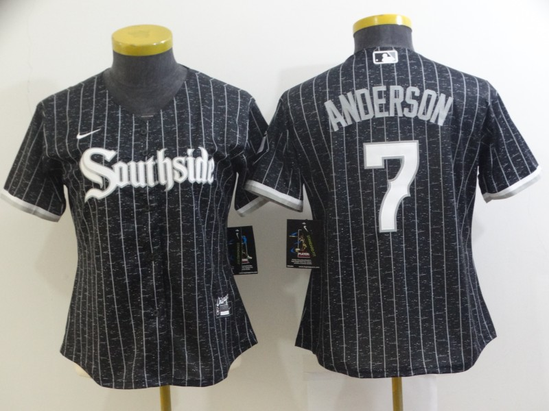 White Sox 7 Tim Anderson Black Women 2021 City Connect Cool Base Jersey