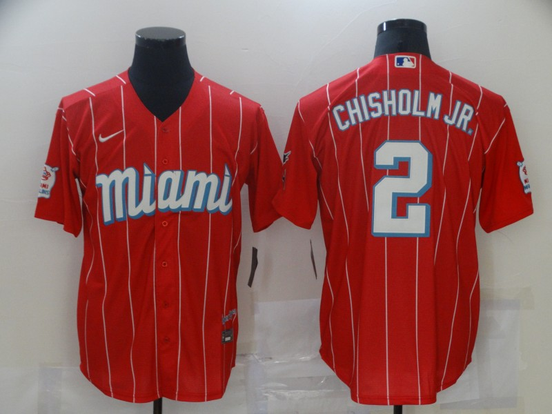 Marlins 2 Jazz Chisholm Jr. Red 2021 City Connect Cool Base Jersey