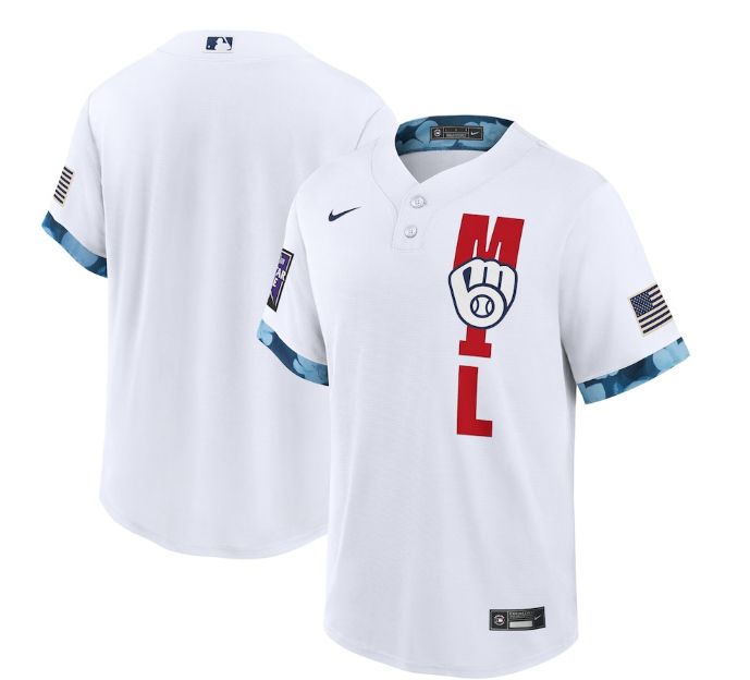 Brewers Blank White Nike 2021 MLB All-Star Cool Base Jersey