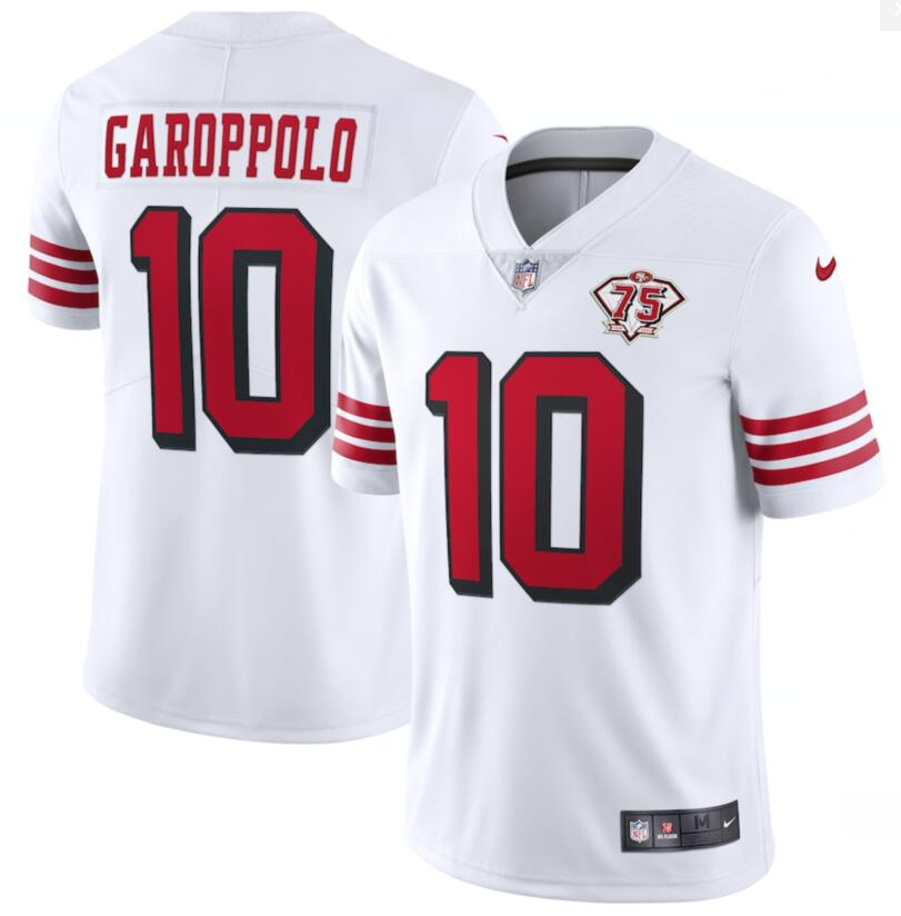 Nike 49ers 10 Jimmy Garoppolo White 75th Anniversary Color Rush Vapor Untouchable Limited Jersey