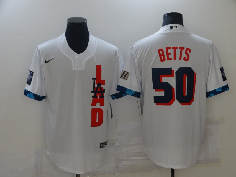Dodgers 50 Mookie Betts White Nike 2021 MLB All-Star Cool Base Jersey