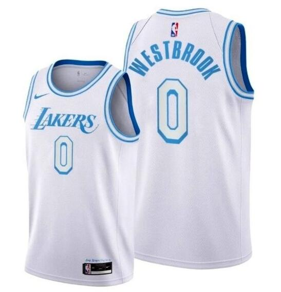 Lakers 0 Russell Westbrook White City Edition Nike Swingman Jersey
