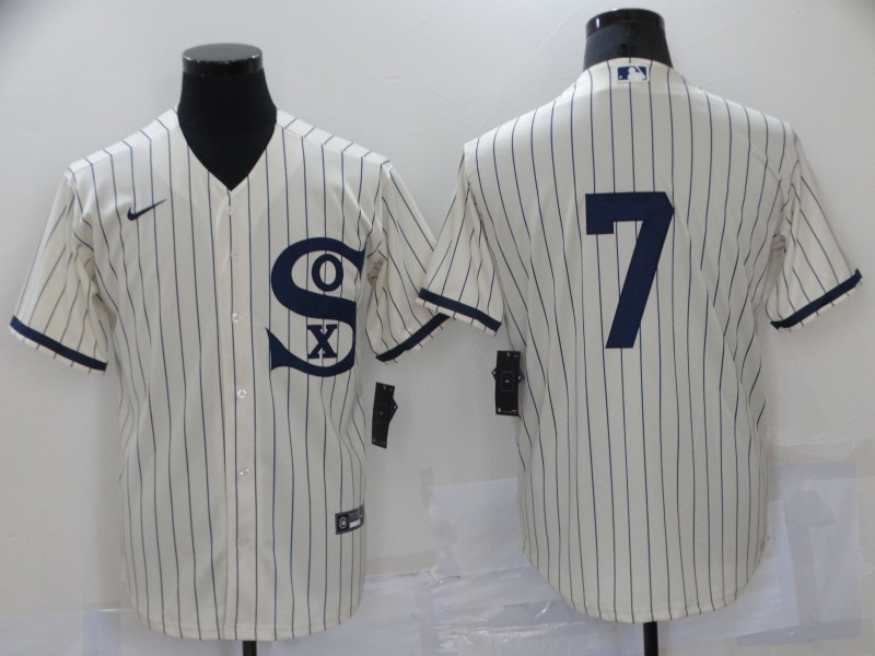 White Sox 7 Tim Anderson Cream Nike 2021 Field Of Dreams Cool Base Jersey