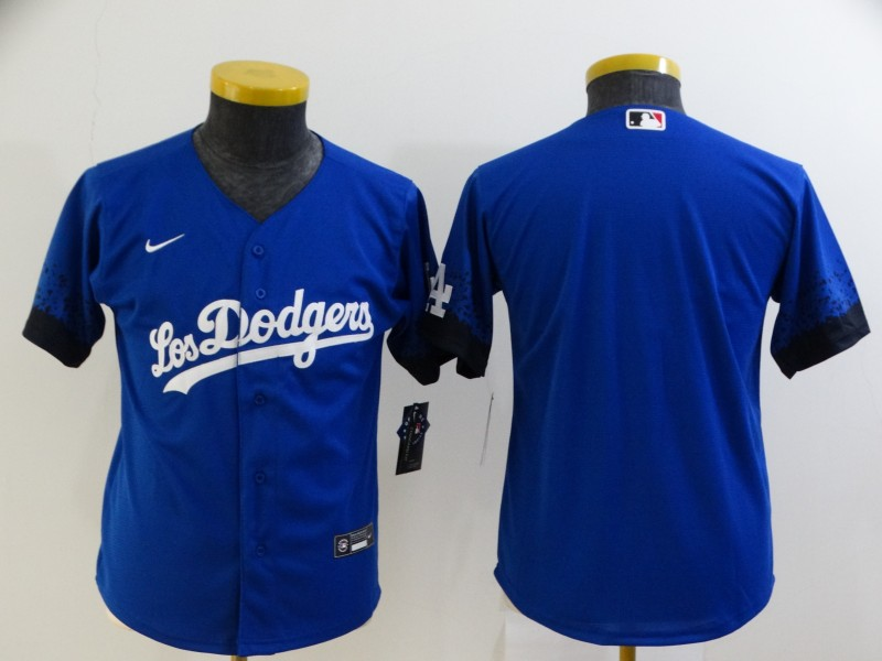 Dodgers Blank Royal Youth 2021 City Connect Cool Base Jersey
