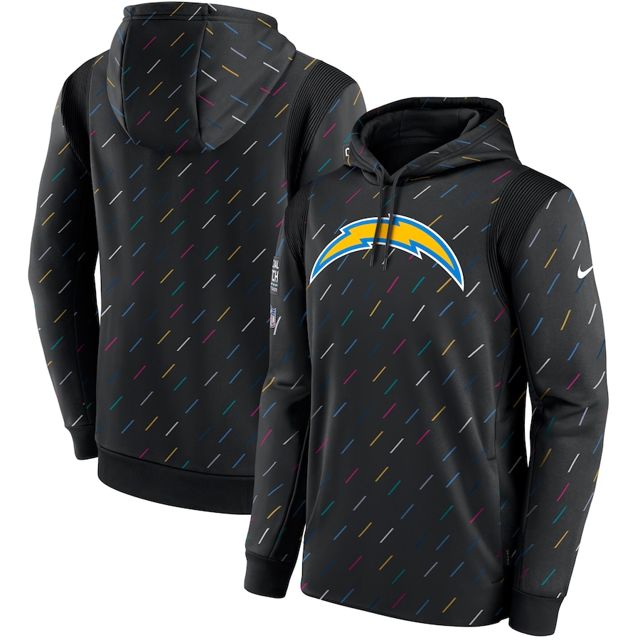 Men's Los Angeles Chargers Nike Charcoal 2021 NFL Crucial Catch Therma Pullover Hoodie