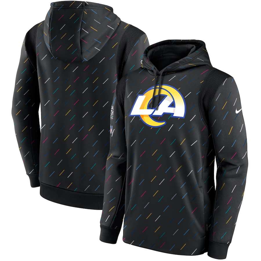 Men's Los Angeles Rams Nike Charcoal 2021 NFL Crucial Catch Therma Pullover Hoodie