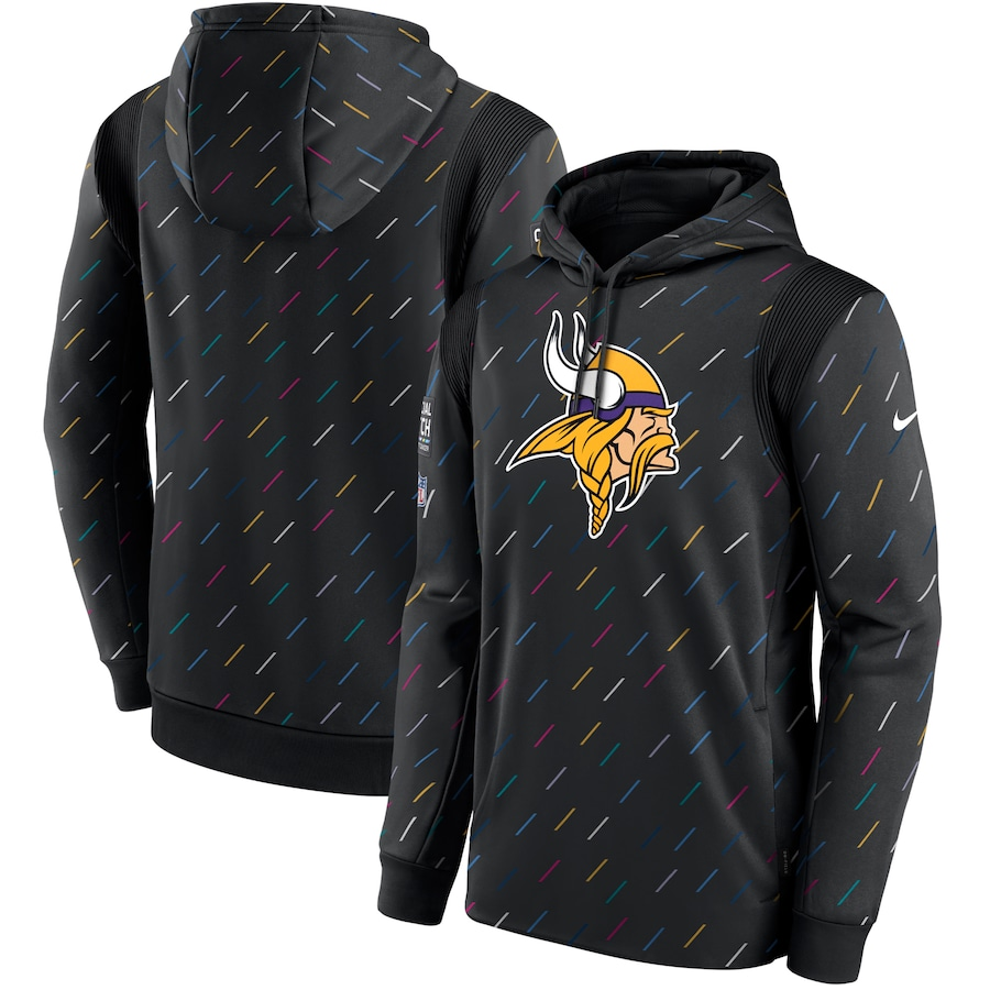 Men's Minnesota Vikings Nike Charcoal 2021 NFL Crucial Catch Therma Pullover Hoodie