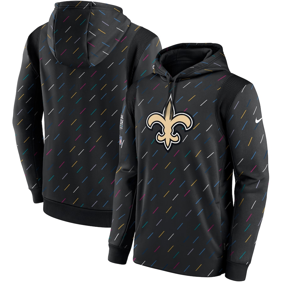 Men's New Orleans Saints Nike Charcoal 2021 NFL Crucial Catch Therma Pullover Hoodie