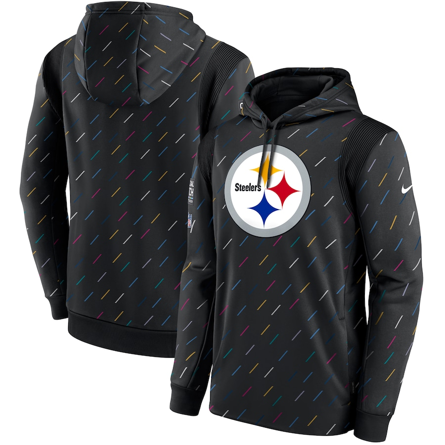 Men's Pittsburgh Steelers Nike Charcoal 2021 NFL Crucial Catch Therma Pullover Hoodie