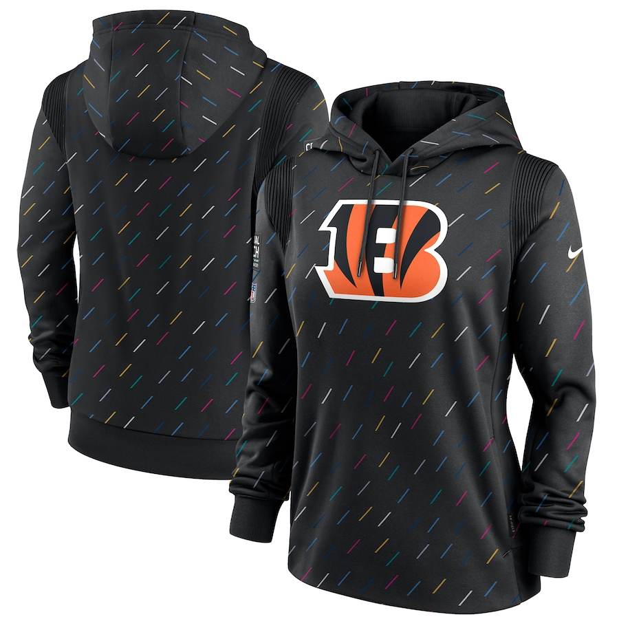 Women's Cincinnati Bengals Nike Anthracite 2021 NFL Crucial Catch Therma Pullover Hoodie