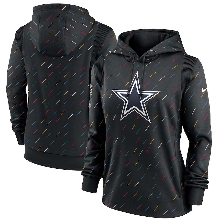 Women's Dallas Cowboys Nike Anthracite 2021 NFL Crucial Catch Therma Pullover Hoodie