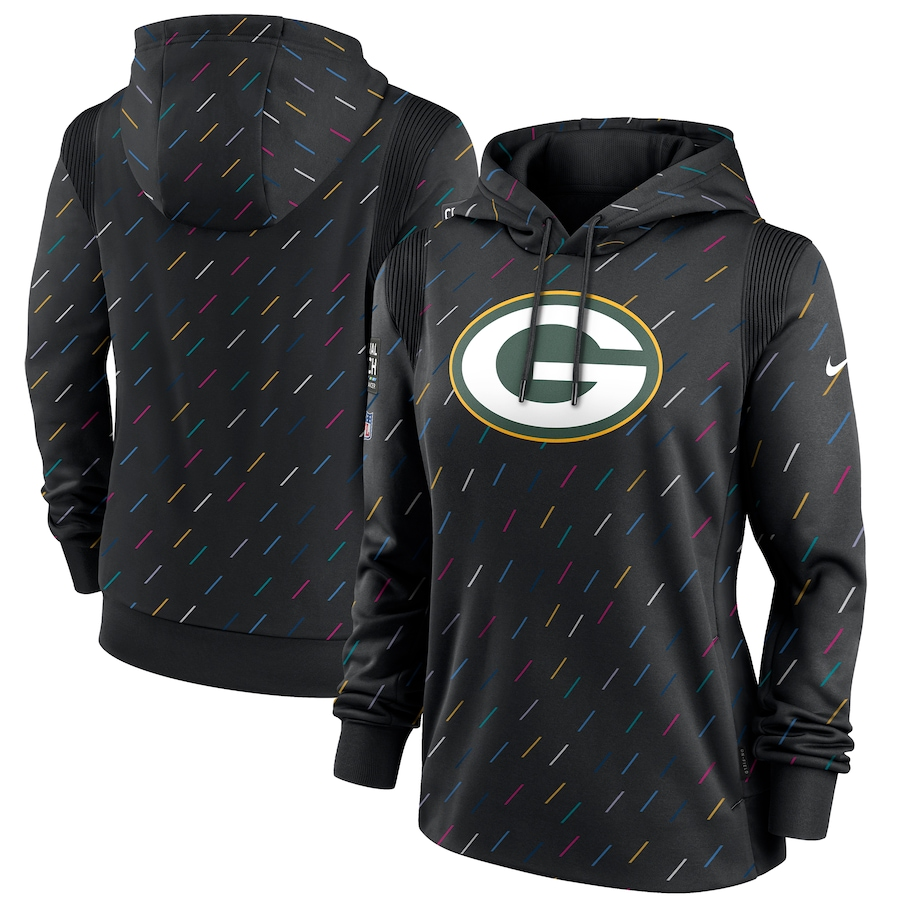 Women's Green Bay Packers Nike Anthracite 2021 NFL Crucial Catch Therma Pullover Hoodie