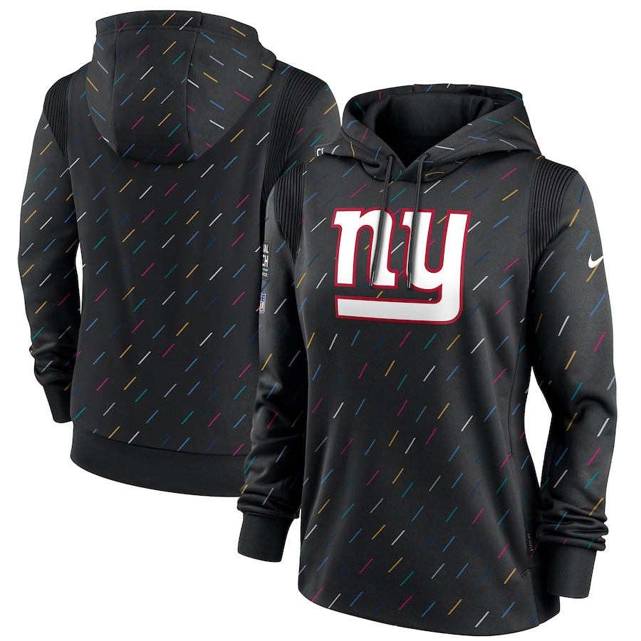 Women's New York Giants Nike Anthracite 2021 NFL Crucial Catch Therma Pullover Hoodie