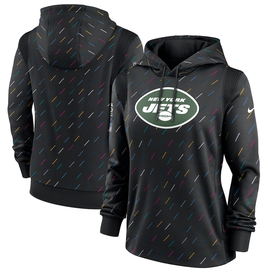 Women's New York Jets Nike Anthracite 2021 NFL Crucial Catch Therma Pullover Hoodie