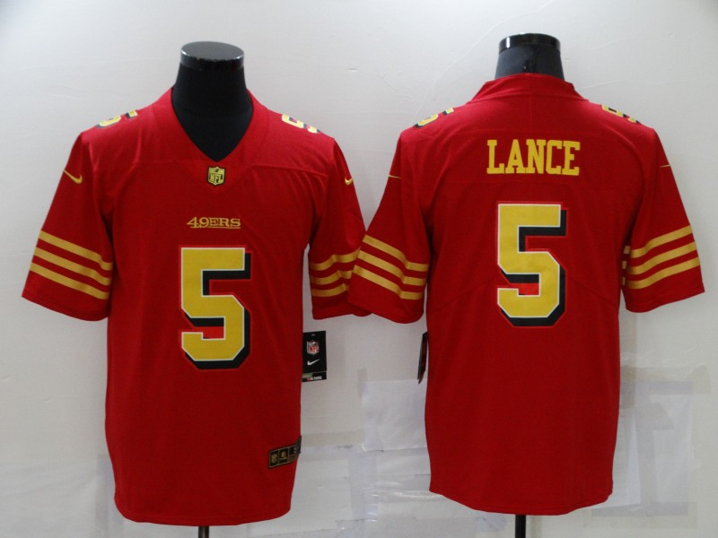 Nike 49ers 5 Trey Lance Red Gold Color Rush Vapor Untouchable Limited Jersey