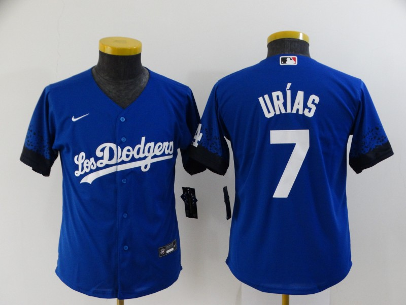 Dodgers 7 Julio Urias Royal Youth 2021 City Connect Cool Base Jersey