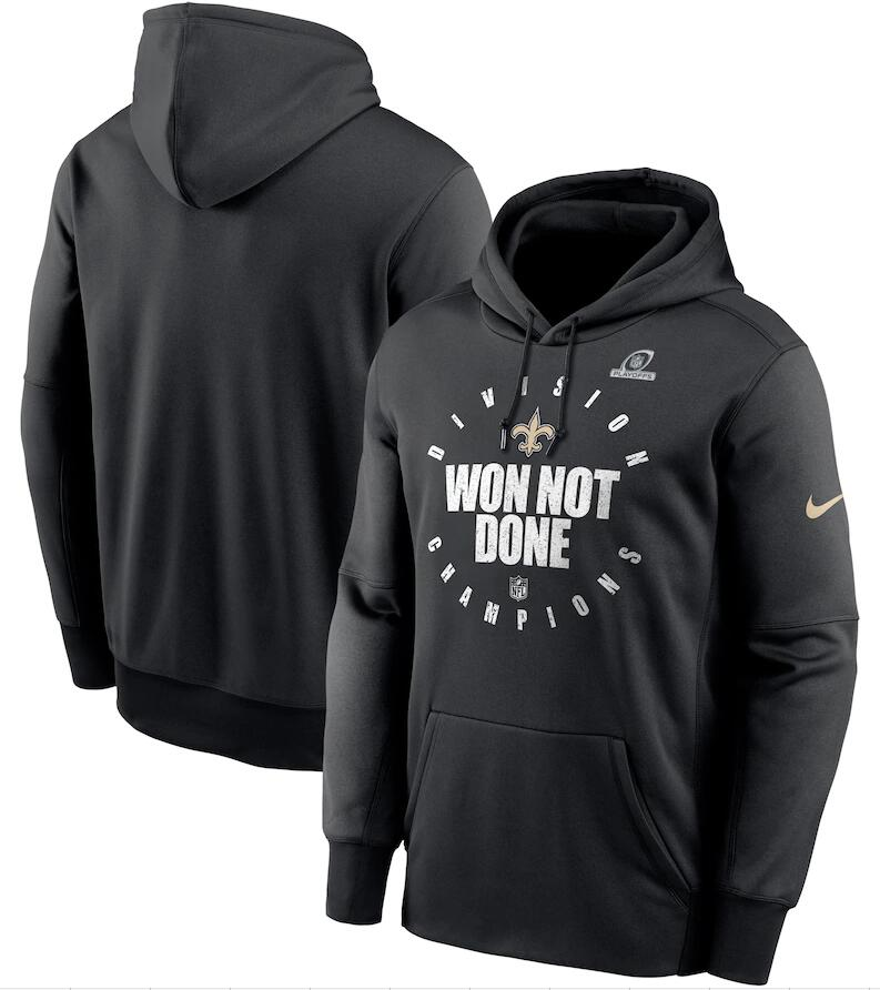Men's New Orleans Saints Nike Black 2020 NFC South Division Champions Trophy Collection Pullover Hoodie