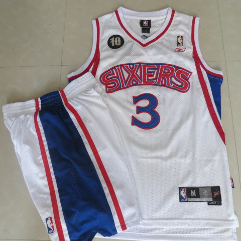 76ers 3 Iverson White M&N 10th Suits