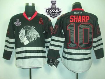 Blackhawks 10 Patrick Sharp Black Ice With 2013 Stanley Cup Finals Jerseys