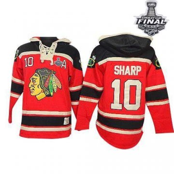 Blackhawks 10 Patrick Sharp Red Sawyer Hooded Sweatshirt With 2013 Stanley Cup Finals Jerseys