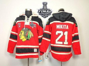 Blackhawks 21 Stan Mikita Red Sawyer Hooded Sweatshirt With 2013 Stanley Cup Finals Jerseys