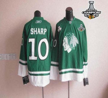 Blackhawks St Patty'S Day 10 Patrick Sharp Green 2013 Stanley Cup Champions Jerseys