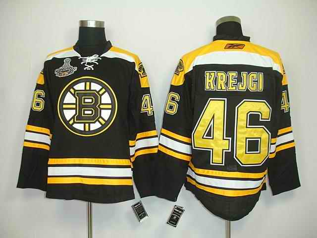 Bruins 46 Krejci Black Champions Jerseys