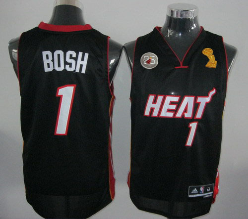 Heat 1 Bosh Black 2013 Champion&25th Patch Jerseys
