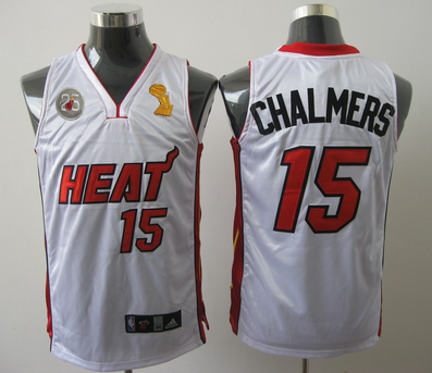 Heat 15 Chalmers White 2013 Champion&25th Patch Jerseys