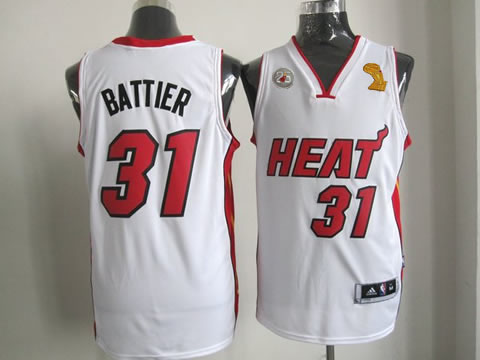 Heat 31 Battier White 2013 Champion&25th Patch Jerseys
