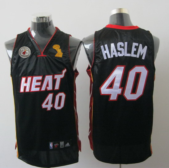 Heat 40 Haslem Black 2013 Champion&25th Patch Jerseys