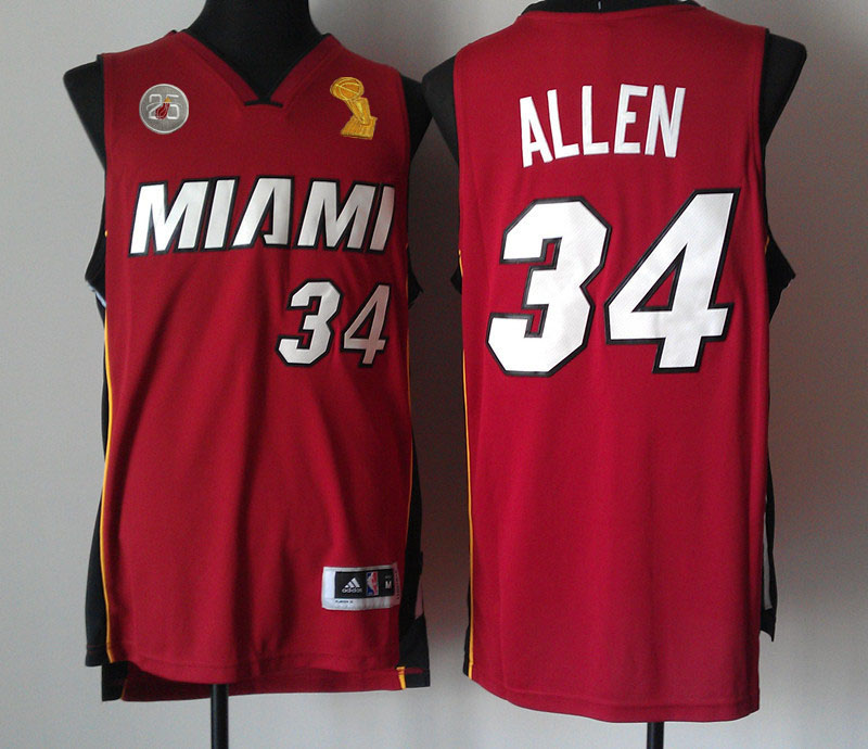 Heats 34 Allen Red 2013 Champion&25th Patch Jerseys